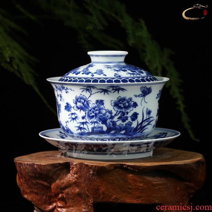 Jing DE and auspicious jingdezhen blue and white tureen grasses and ceramic tea set three cups of the four seasons to hand bowl of tea bowl