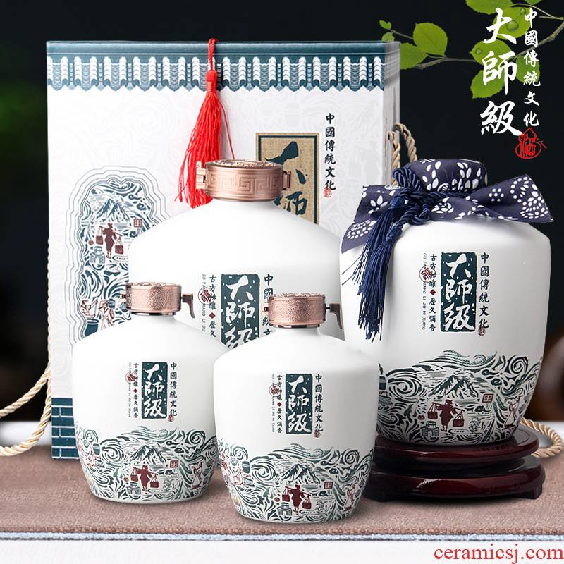 Jingdezhen 1/3/5 jin ceramic jars empty bottle seal hip master wine liquor bottles of wine set decoration