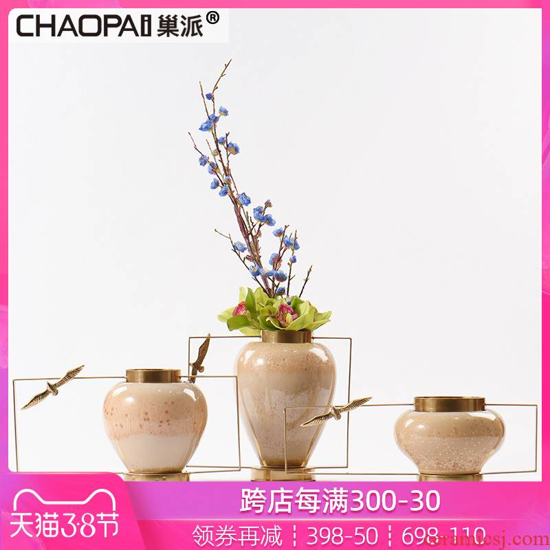 New Chinese style ceramic Taiwan crispy noodles machine sitting room dining - room table decorations household vase is placed between example furnishings