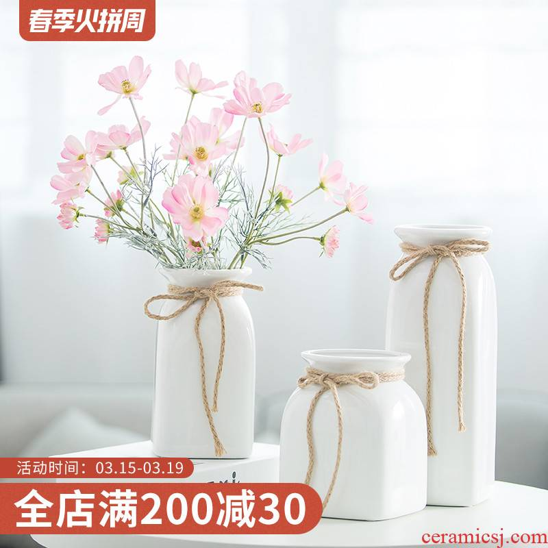 Like a flower, European - style fake flowers home decoration decoration floral suit small pure and fresh and simulation hemp rope ceramic vase