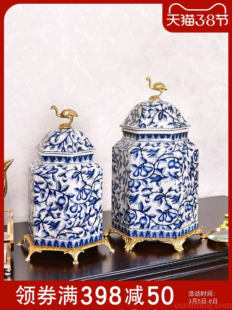 New Chinese style key-2 luxury blue and white porcelain with general copper pot sitting room porch TV ark, sample room adornment is placed