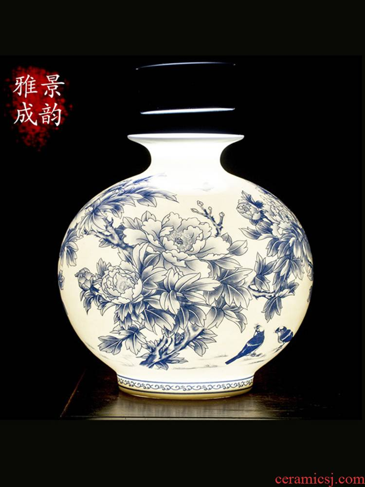 Jingdezhen ceramic new Chinese peony flower arranging place flower art rich ancient frame furnishing articles porch is decorated pomegranate bottles of floral outraged