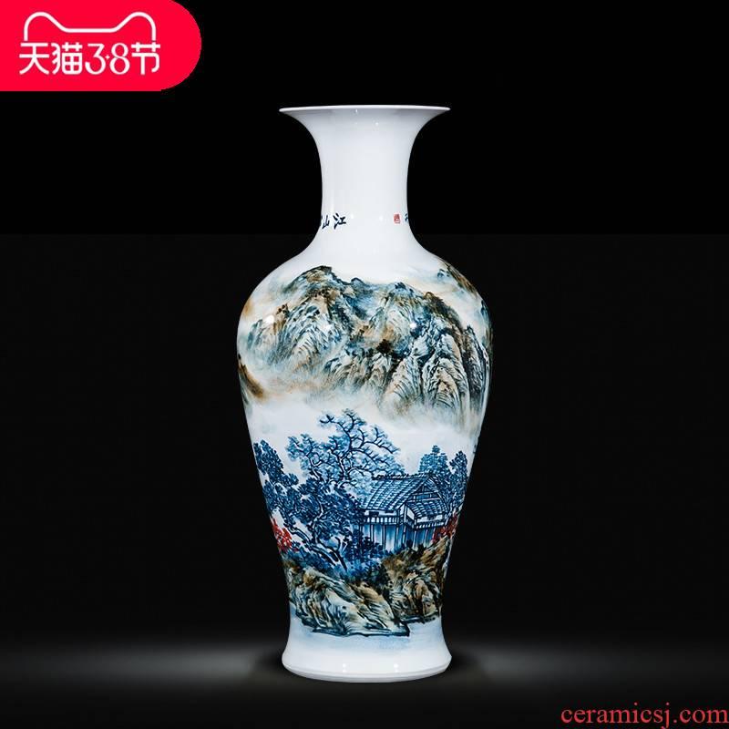 Jingdezhen ceramic celebrity master hand draw large vases, Chinese style household adornment hotel villa handicraft furnishing articles