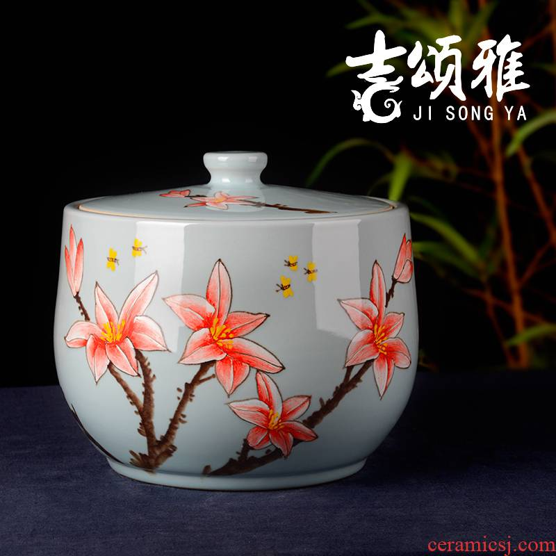 Jingdezhen ceramic barrel ricer box meter box 15 kg lily storage with cover seal storage tank with moistureproof insect - resistant