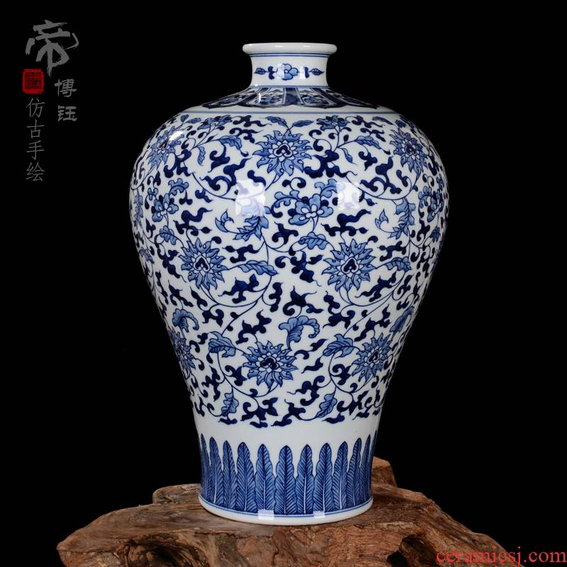 Jingdezhen ceramic vases, high - grade hand - made archaize mei bottle wrapped branch lotus antique collection of blue and white porcelain porcelain furnishing articles