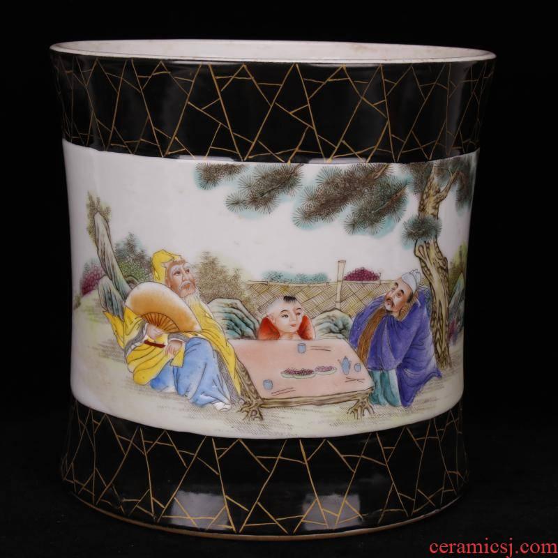 """Jingdezhen imitation the qing xianfeng years antique antique hand - made enamel paint brush pot """"four desk pen sea fine furnishing articles"""