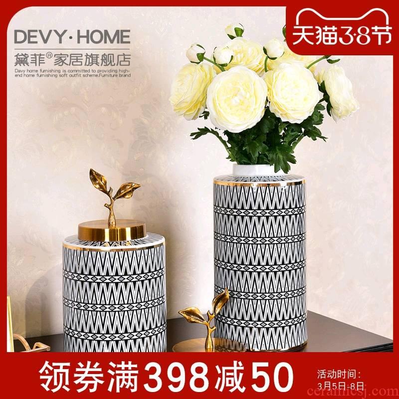 American ceramic light key-2 luxury furnishing articles simulation flower vase suit I sitting room adornment porch decoration flower arrangement