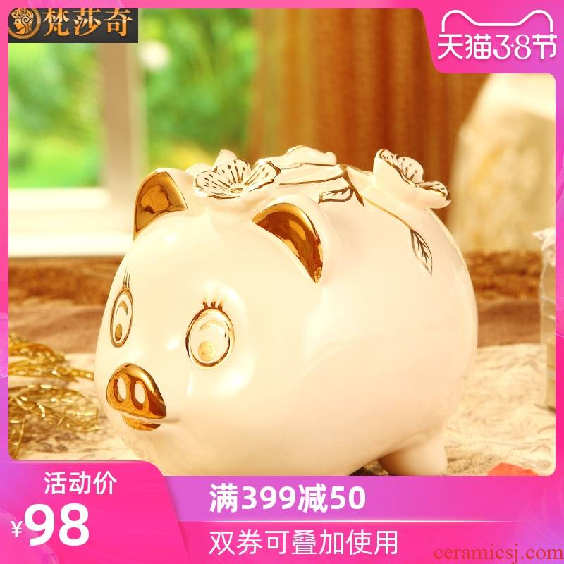 Vatican Sally 's European ceramics gold baby pig piggy bank furnishing articles birthday gift money - a box piggy bank