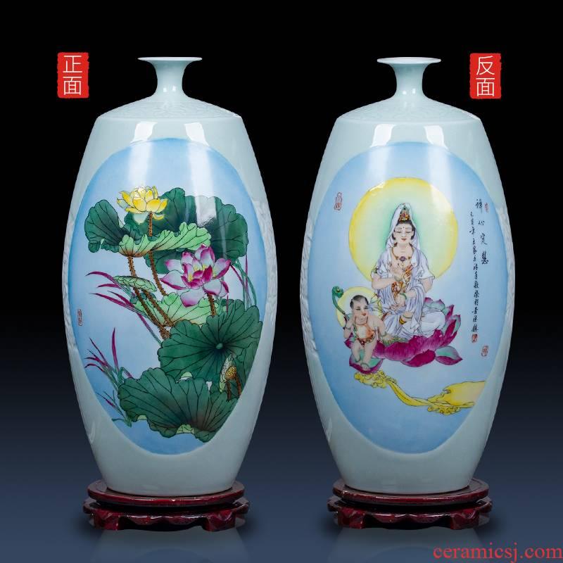 Huai embellish, jingdezhen ceramic hand - made vases, Chinese style living room decoration furnishing articles furnishing articles painting porch double - sided vase