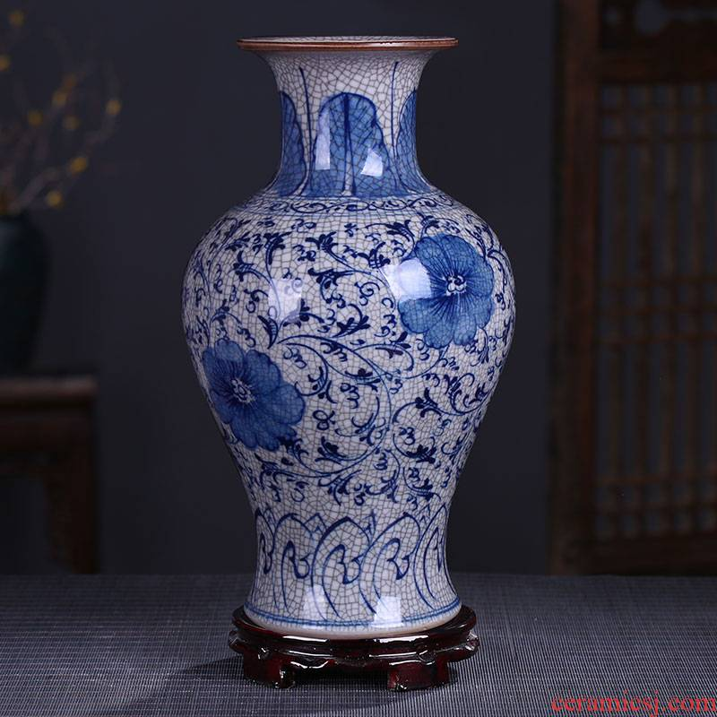 Jingdezhen ceramics guanyao classical arts and crafts of blue and white porcelain vase hand - made under glaze color antique home furnishing articles