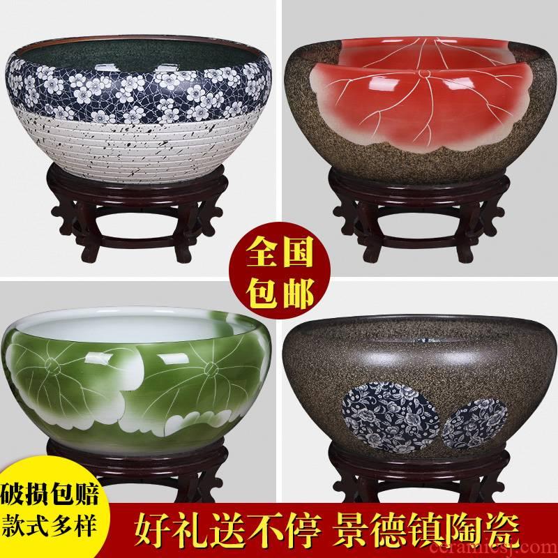 Jingdezhen ceramic aquarium turtle cylinder goldfish bowl lotus cylinder fish bowl lotus lotus cylinder furnishing articles in the living room