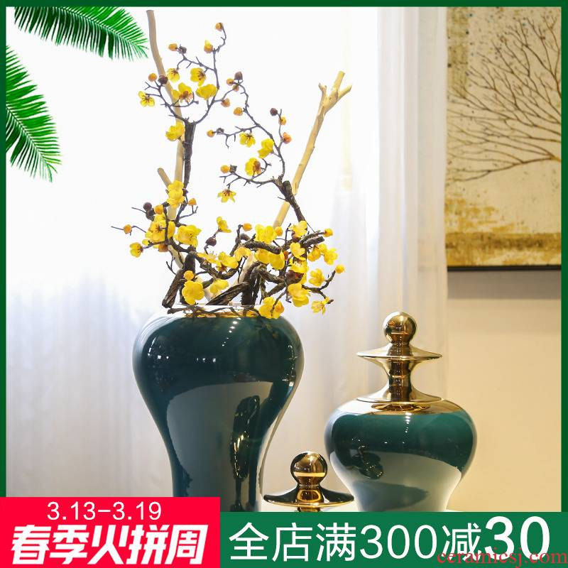 Jingdezhen light key-2 luxury home decoration ceramic vase flower implement the sitting room porch of TV ark, wine receptacle European furnishing articles