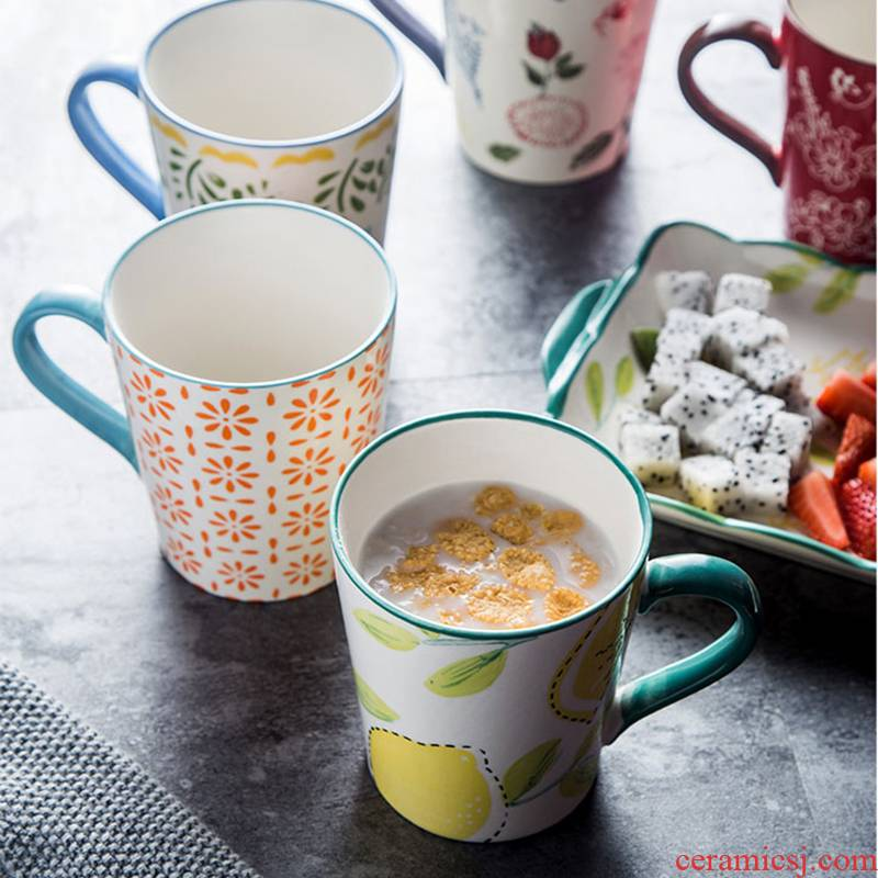 European rural wind hand - made breakfast milk cup glazed pottery porcelain mugs, 250 ml cups of coffee cups