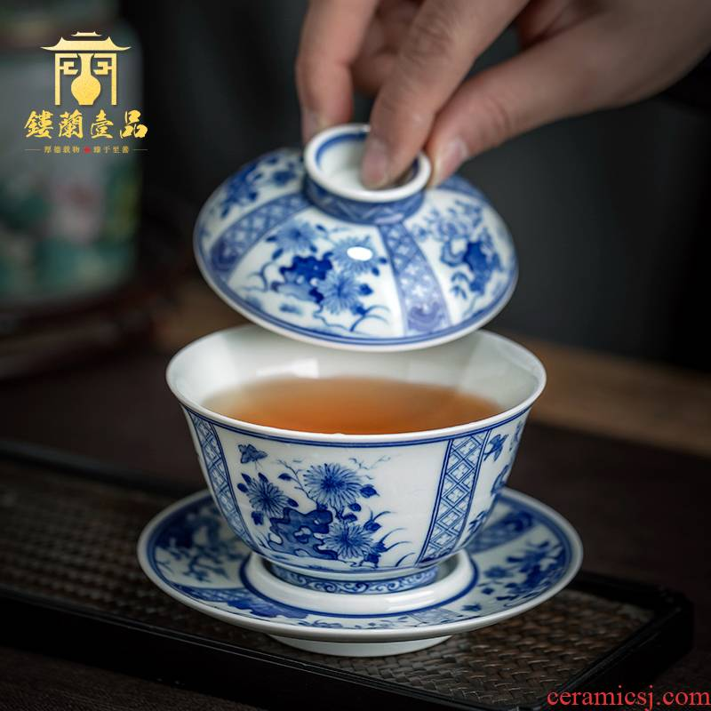 Jingdezhen ceramic hand - made maintain all flowers large blue and white only three tureen tea cups kung fu tea set