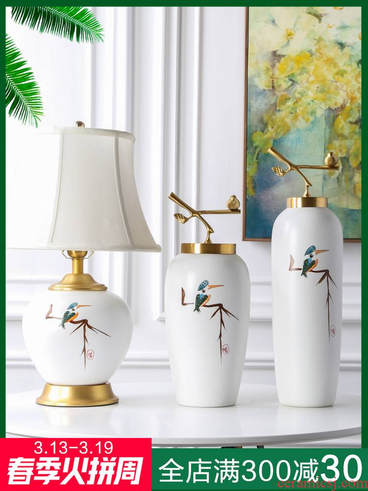 Jingdezhen kingfisher vase furnishing articles, new Chinese style bedside table ceramic desk lamp of the sitting room porch wine piggy bank