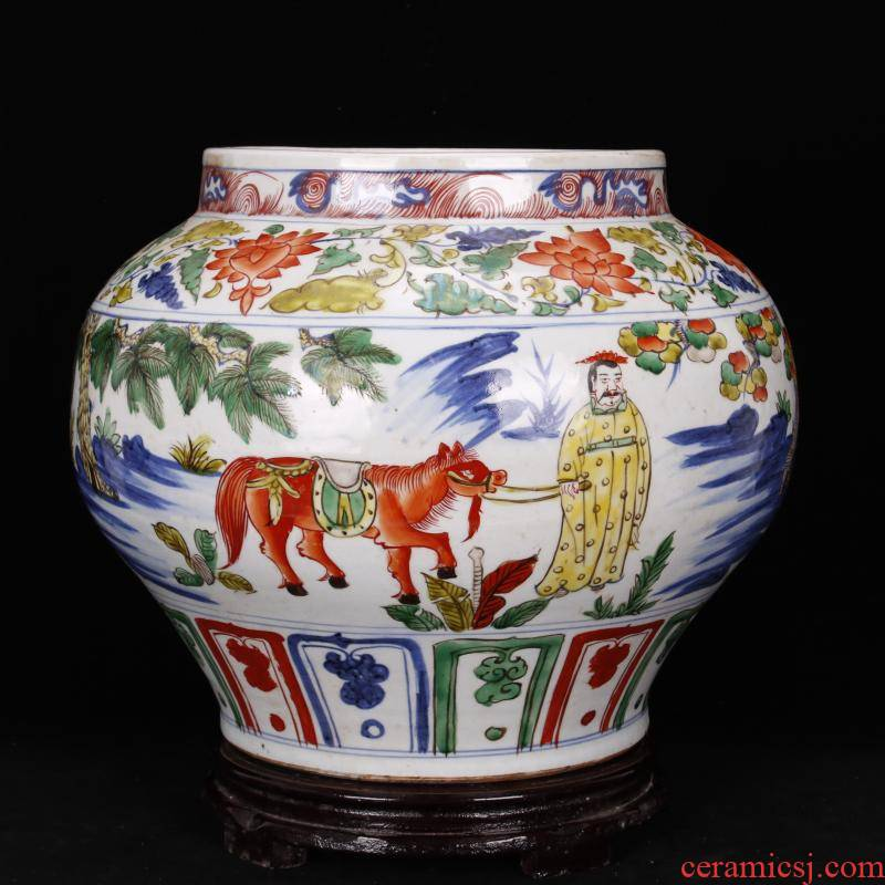 Jingdezhen antique reproduction antique pure checking bucket color colorful up after yuan dynasty han xin big jar of old goods furnishing articles