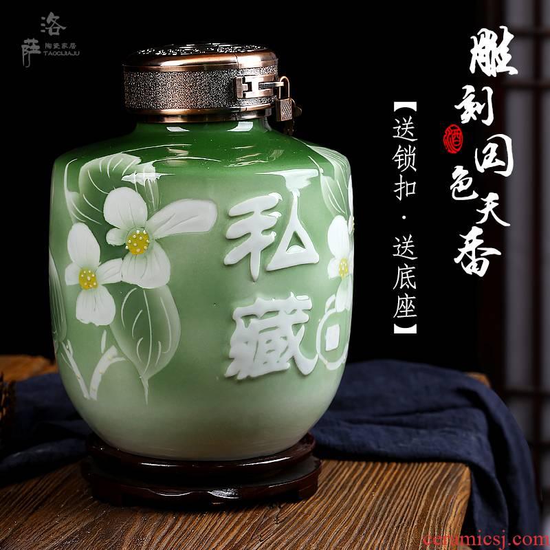Ceramic bottle 5 jins of 10 jins jar it liquor mercifully wine sealed bottle hip flask casks jingdezhen its