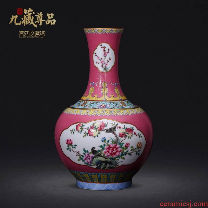 Jingdezhen ceramics imitation the qing qianlong hand - made Windows powder enamel bottle collection sitting room home decoration furnishing articles