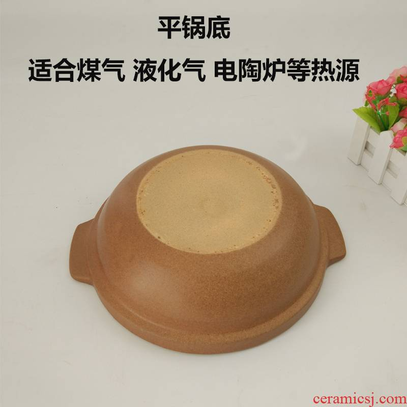 Soil casseroles, high temperature resistant ceramic small casserole stew boil soup flame household gas shallow clay pot stew