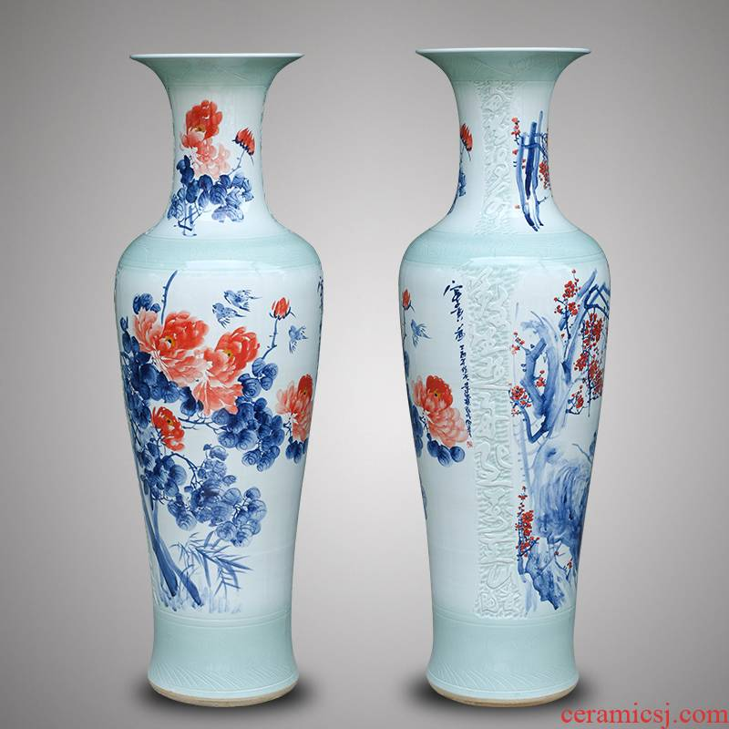 Jingdezhen ceramic hand - made landing big vase courtyard by patterns of new Chinese style living room TV cabinet furnishing articles