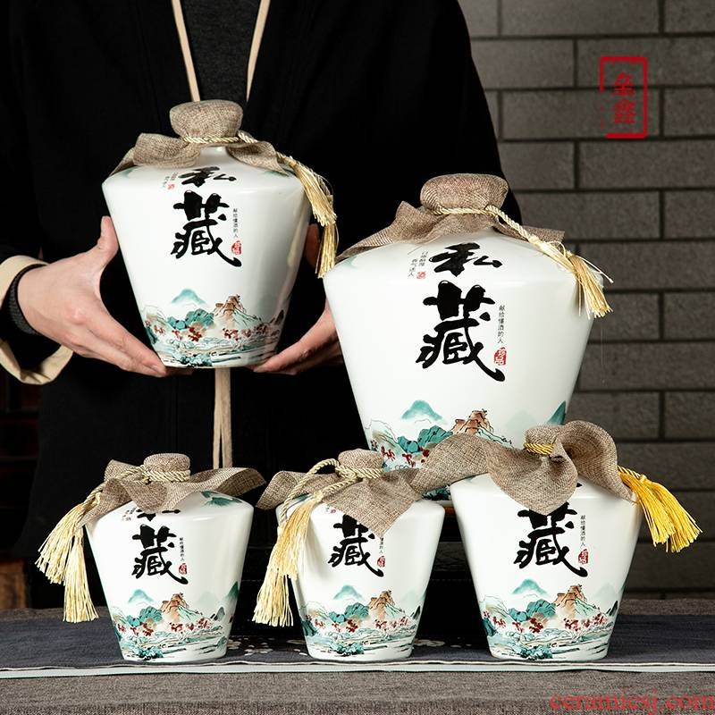 An empty bottle of jingdezhen ceramic 1/2/3/5/10 kg pack household seal pot of Chinese liquor jugs of wine jars