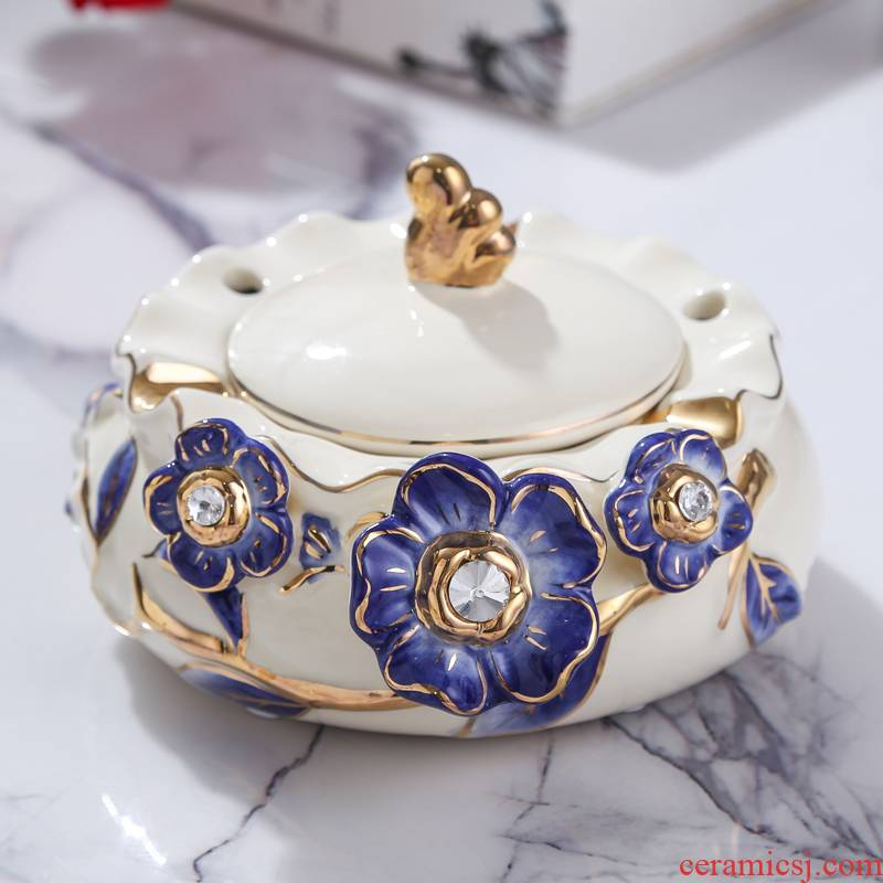 European new royal blue name plum flower series European ceramic ashtray sitting room adornment bedroom with cover the ashtray furnishing articles