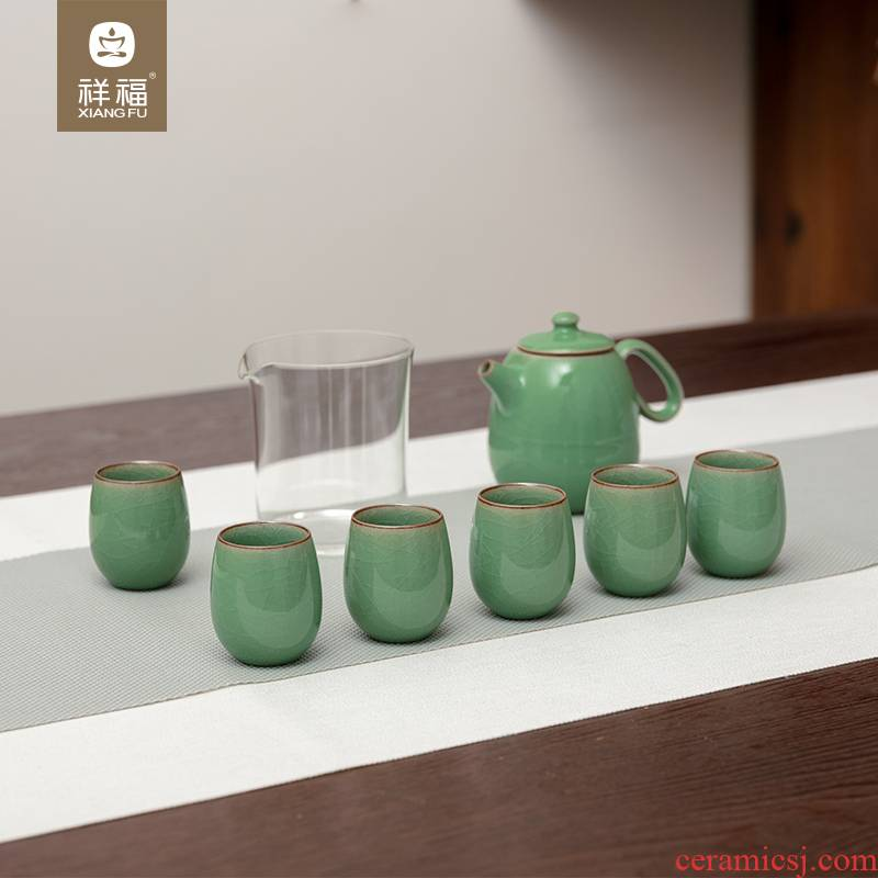 Auspicious blessing kung fu tea set the set of longquan celadon open piece of make tea with elder brother up with Japanese household ice crack can be raised