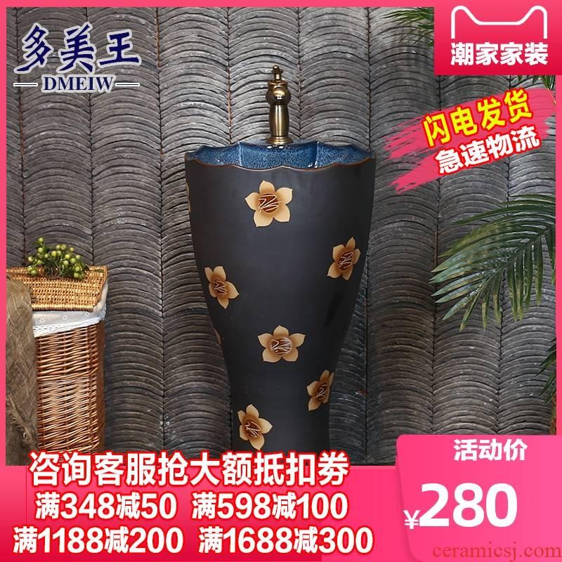 What king of pillar basin ceramic Chinese style restoring ancient ways basin of pillar type lavatory floor the sink a body art column