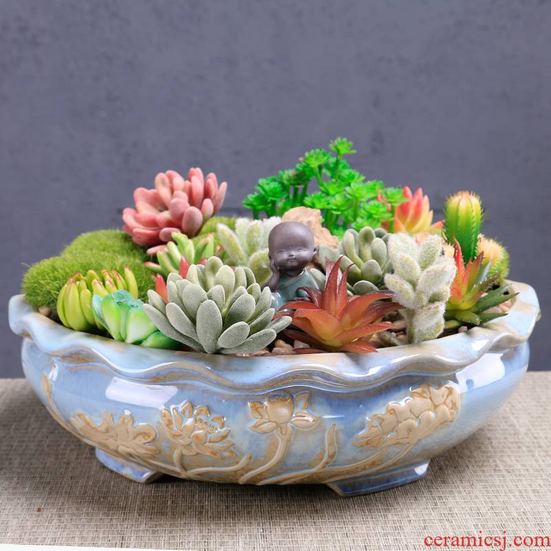 Large diameter fleshy flowerpot ceramic Large special offer a clearance package heavy mail 20-30 cm pot platter is special