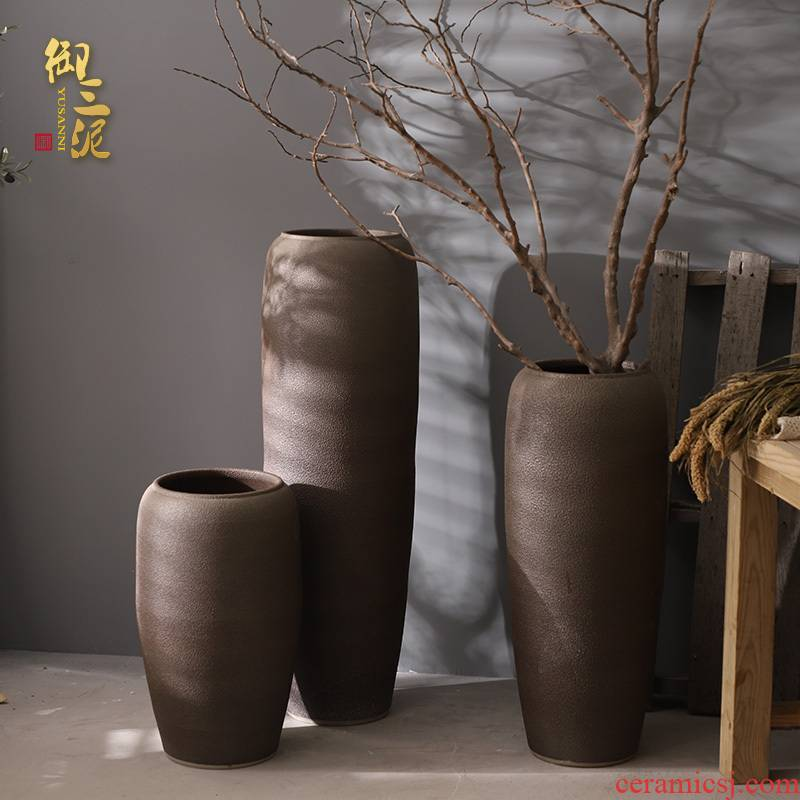 Contracted jingdezhen ceramic floor big vase Chinese flower arrangement sitting room place coarse pottery large suit the dried flower