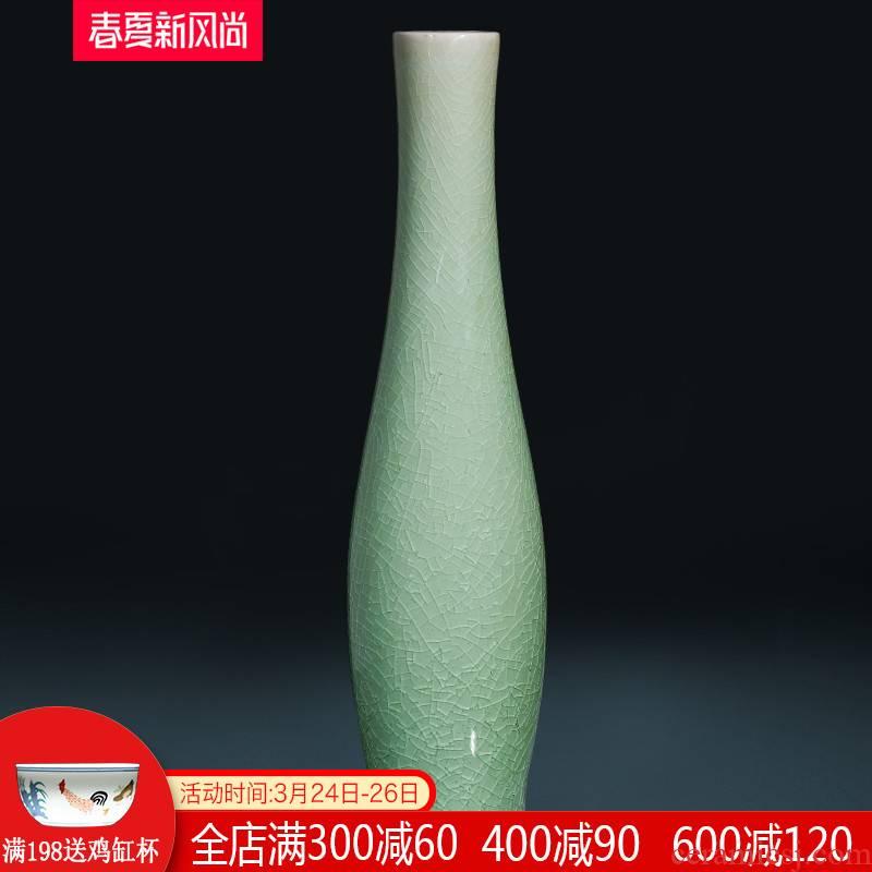 Jingdezhen ceramics, vases, flower arranging furnishing articles archaize crack glaze goddess of mercy bottle dry flower of new Chinese zen floral outraged