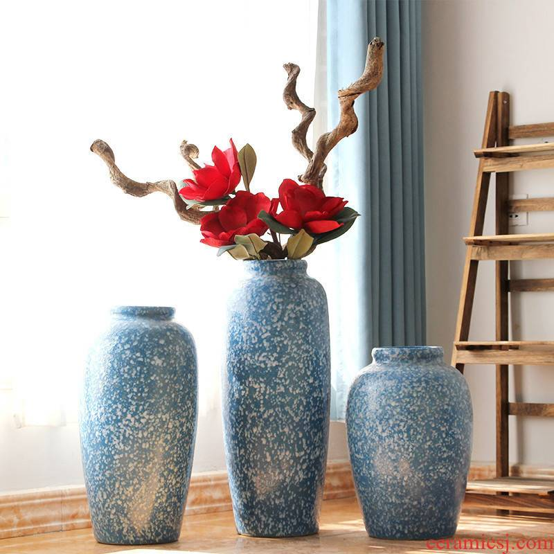 Modern American rural Mediterranean blue ceramic coarse some ceramic pot vase restoring ancient ways the sitting room the bedroom furnishing articles ornaments