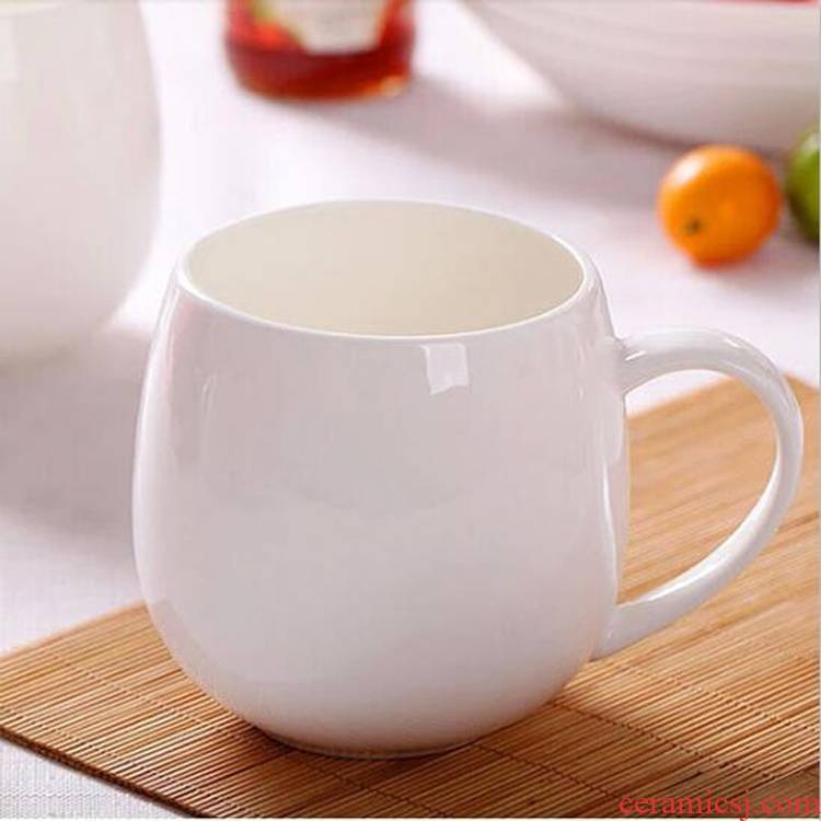 Jingdezhen porcelain contracted ipads ceramic keller cup cup pure white mugs custom LOGO milk coffee cup