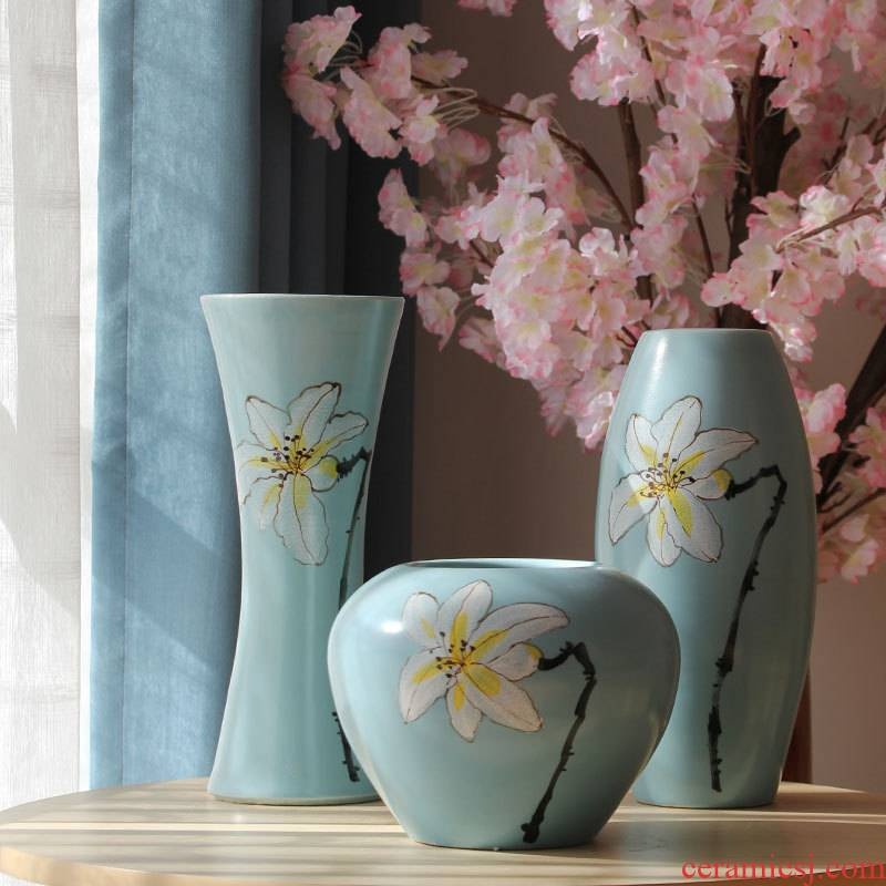 Jingdezhen hand - made ceramic inserts lily vase of new Chinese rural American room sitting room soft furnishing articles
