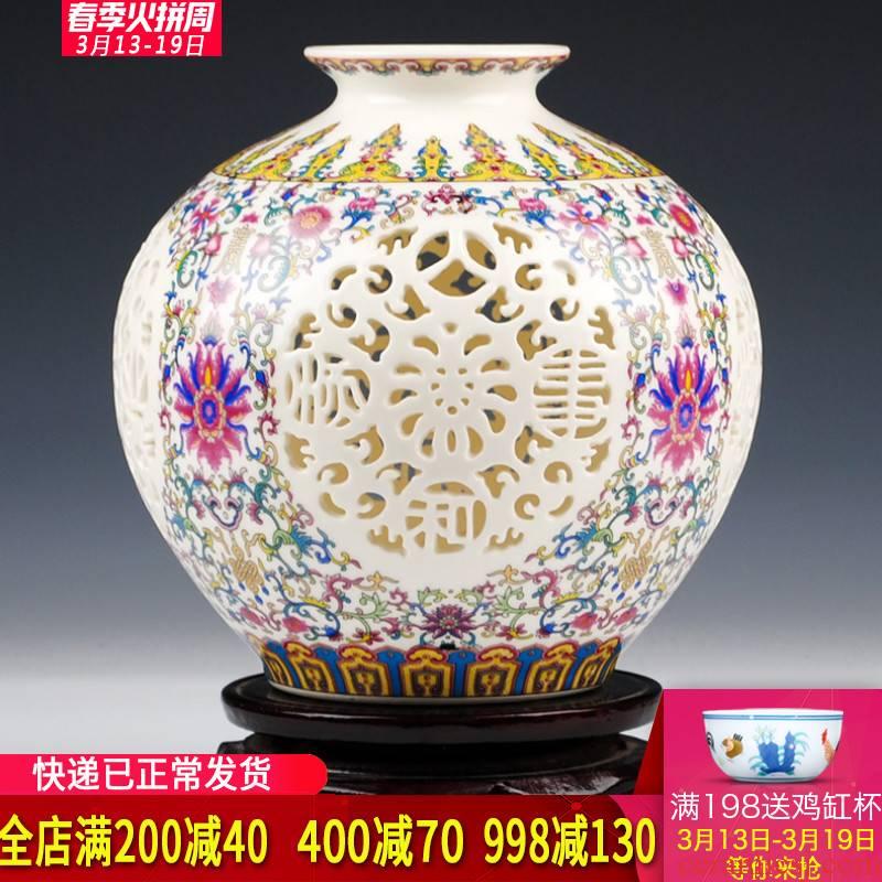 Jingdezhen ceramics powder enamel hollow out thin foetus pomegranate vase household adornment handicraft furnishing articles of I sitting room