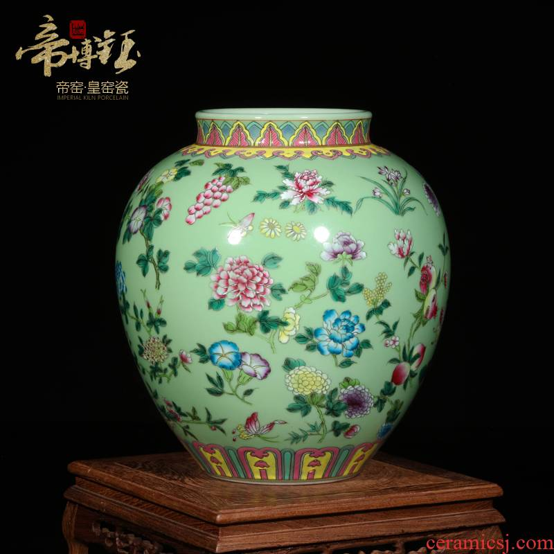 Jingdezhen ceramic vase furnishing articles antique hand - made pastel pea green glaze painting of flowers and small round the altar high - grade handicraft sitting room
