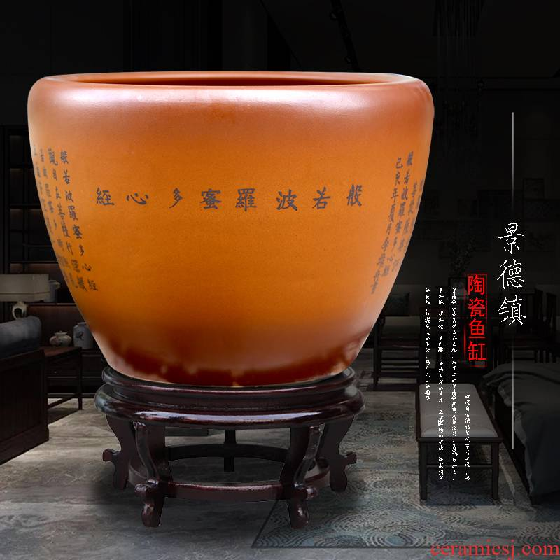 Jingdezhen ceramic jackfruit heart sutra lettering landing fish tank temple hall of archaize sitting room do old large furnishing articles