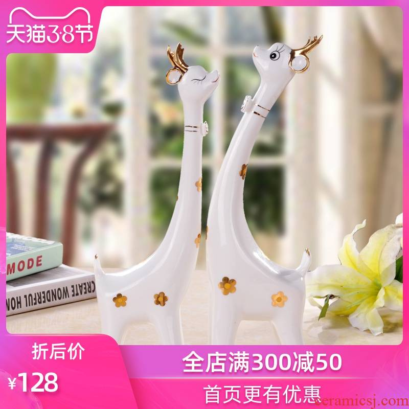 The Sequence of the strong ceramic crafts are giraffes couples contracted fashion household hallway decoration, lovely gift