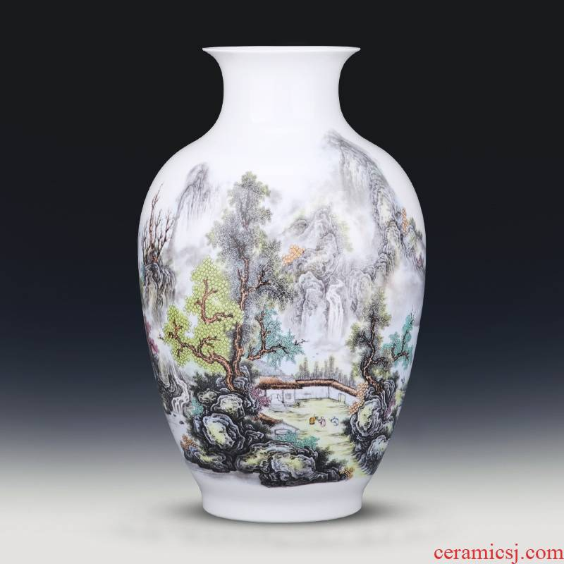 Jingdezhen porcelain vases, pottery and porcelain furnishing articles pastel landscapes of new Chinese style household flower arranging wine sitting room adornment
