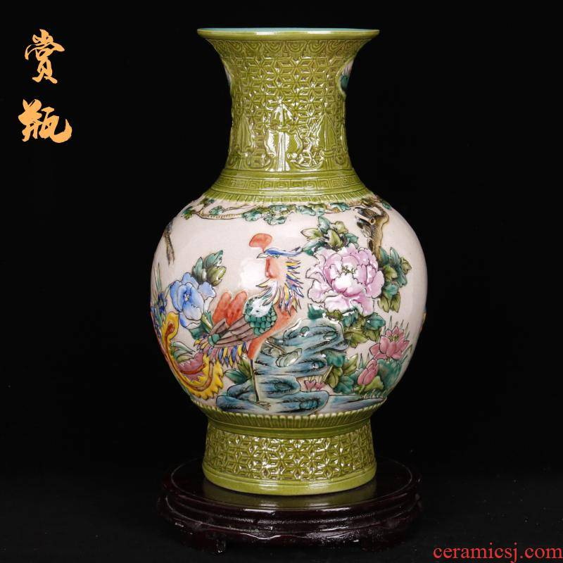 Jingdezhen imitation the qing qianlong antique vintage checking embossed vase of new Chinese style living room home decor collection furnishing articles