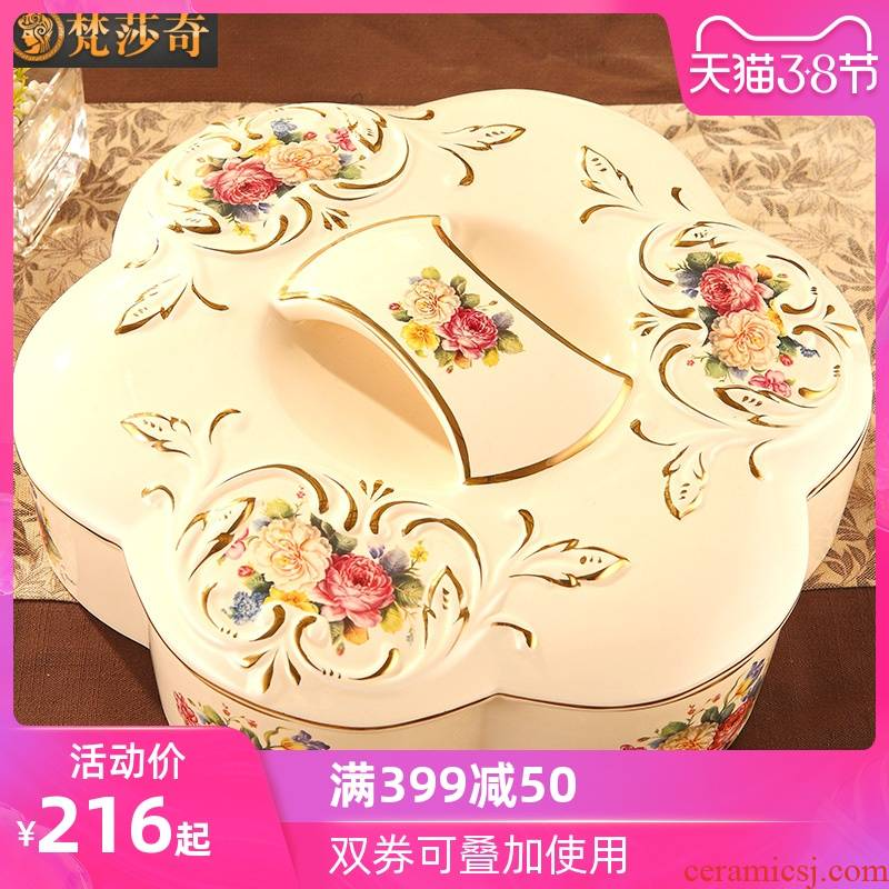 Vatican Sally 's European dried fruit compote modern living room home large ceramic tea table receive a box of candy box snack plate