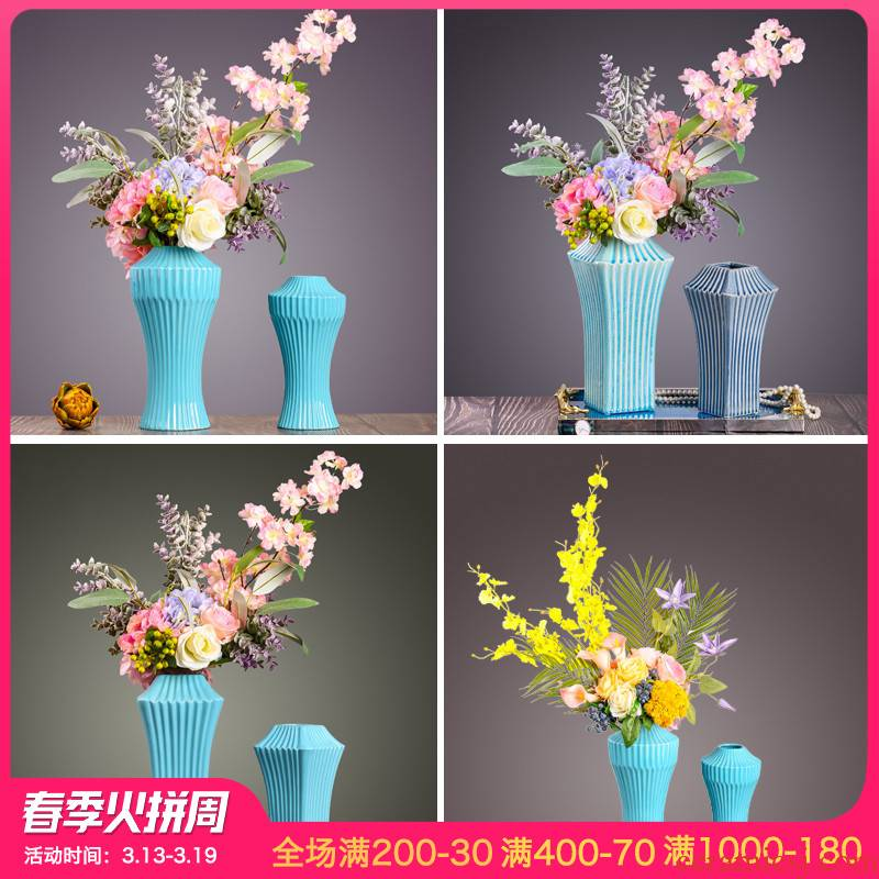 Creative vase furnishing articles European modern contracted sitting room table simulation flower flower crafts ceramics ornament