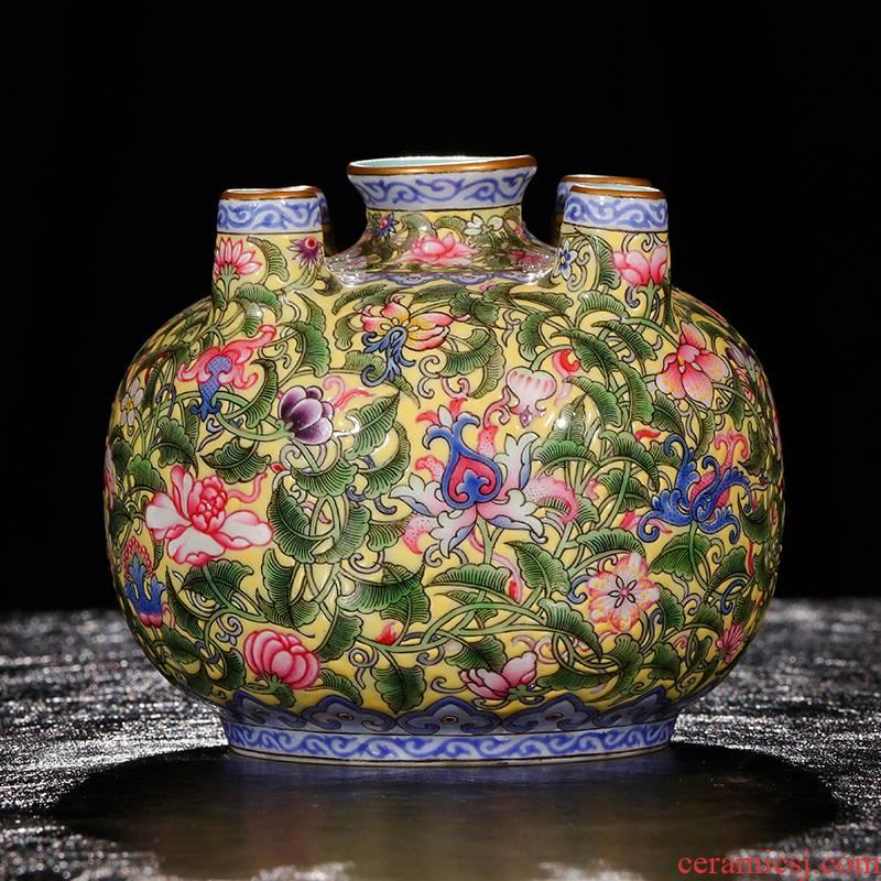 Five tube bottle Yang Shiqi palace jindi ceramics and name