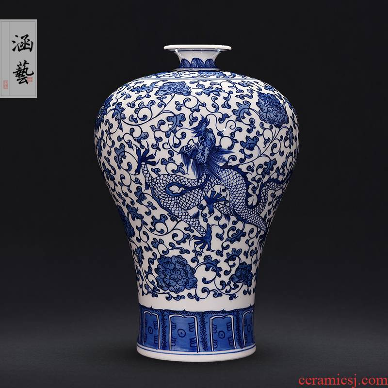 Jingdezhen ceramics hand - made longfeng of blue and white porcelain vase furnishing articles flower arranging new Chinese style living room decoration craft gift