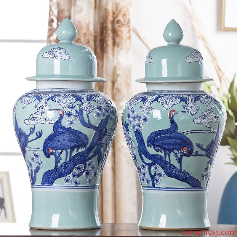 Jingdezhen ceramic vases, flower arrangement sitting room adornment cover Chinese style tea pot general barrel can of China