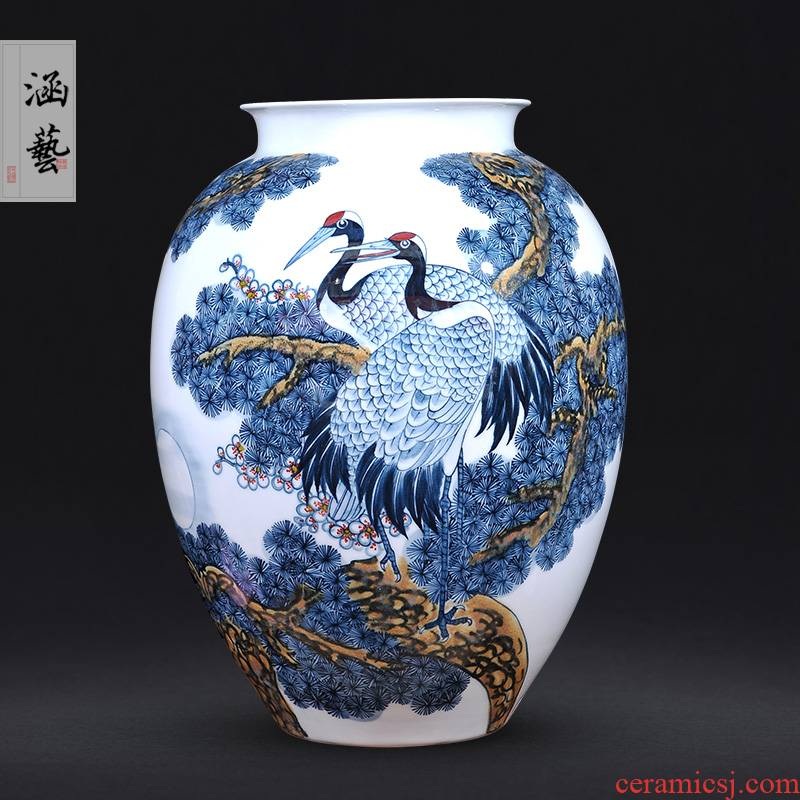 Jingdezhen blue and white pine crane, live rich hand - made ceramics tube of new Chinese style living room decoration furnishing articles craft gift