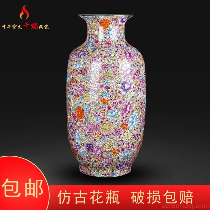 Jingdezhen ceramics vase landing bottom flower idea gourd bottle full of new and traditional Chinese style living room decoration flower arrangement