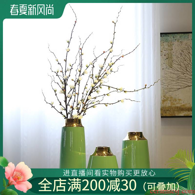Jingdezhen new Chinese style originality gold - plated vase club mesa adornment flowers flower implement sitting room place porch decoration
