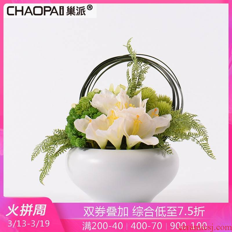 I and contracted white ceramic simulation silk flowers, flowers, floral suit furnishing articles European table MianRuan decorations