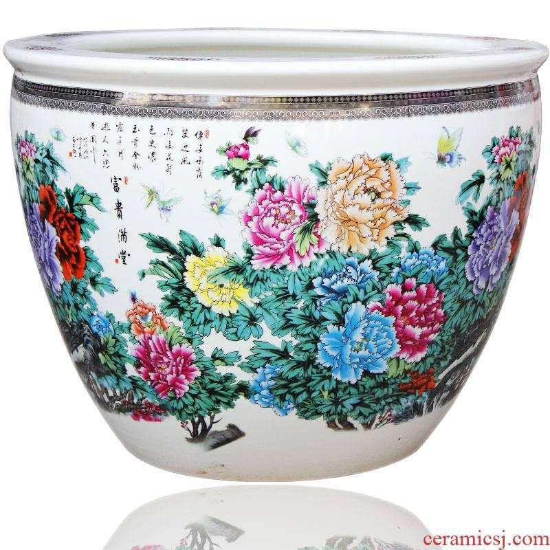 Jingdezhen ceramic large aquarium water lily bowl lotus goldfish turtle to heavy cylinder fish basin porcelain basin